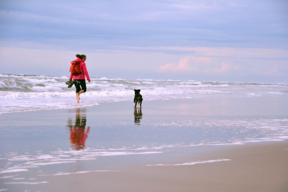 Frau Hund Strand Meer