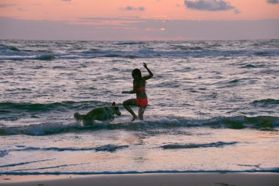 Mädchen Hund Strand Meer spielen Sonnenuntergang